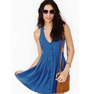 Nasty Gal Blue Button Front Cutout Dress